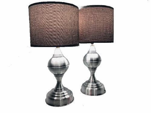 Par Lámparas Aluminio Para Buró Luz Led Modelo #04 Silver