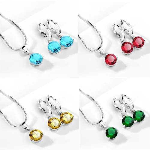 Set Aretes Y Collar De Plata Pura Ley.925 Zirconia