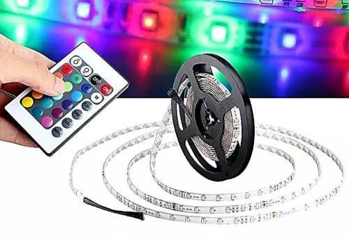 Tira Led Rgb Impermeable 5 Mts Rgb Multicolor Control Remoto