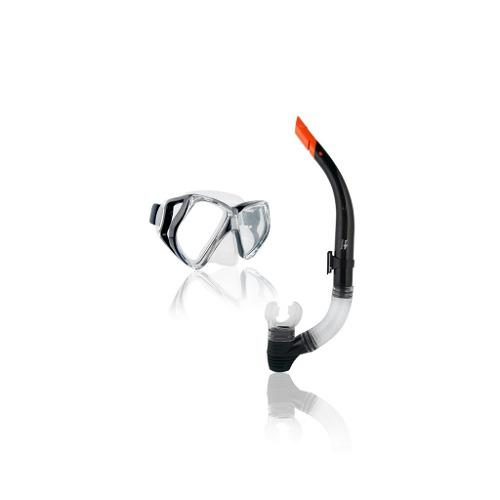 Combo Mascara Y Snorkel Escualo Modelo Expert Negro