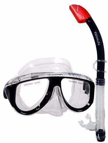 Combo Mascara Y Snorkel Negro - Escualo Modelo Coral