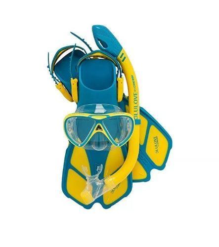 Mascara Y Snorkel Color Aqua - Escualo Modelo Coral