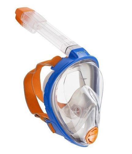Mascara Y Snorkel Modelo Aria Ocean Reef Azul Talla L/ Xl