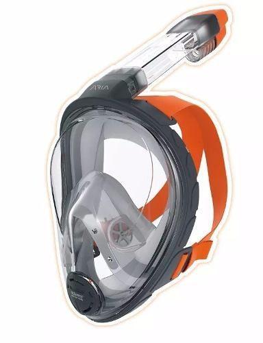 Mascara Y Snorkel Modelo Aria Ocean Reef Gris Talla Xs