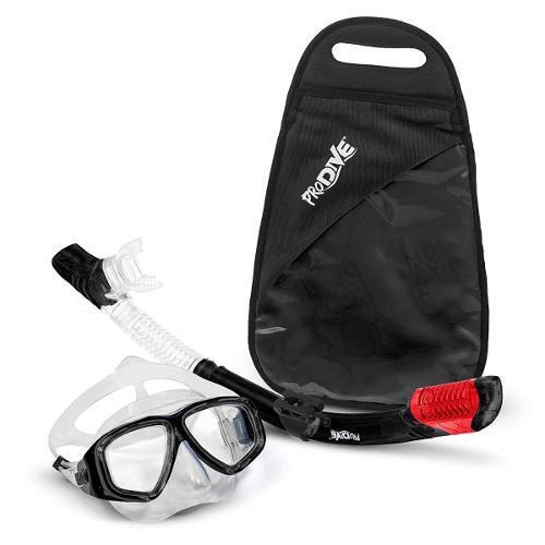 Visor Con Tubo Snorkel Mascara Profesional Kit Anti Fog Negr