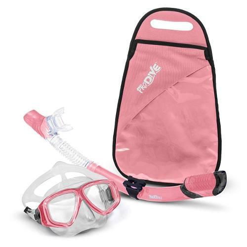 Visor Con Tubo Snorkel Mascara Profesional Kit Anti Fog Rosa
