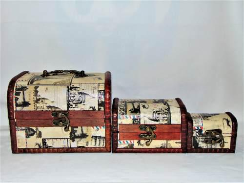 3 Joyeros Alhajero Madera Baúl Diseño Vintage Envío