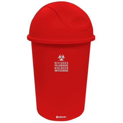 Bote De Basura Contenedor Rojo Residuos Peligrosos Rpbi 45lt