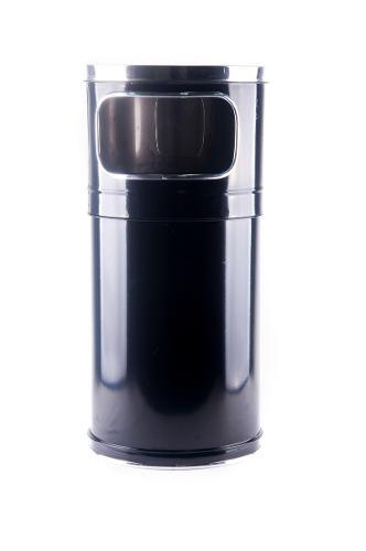 Bote De Basura Negro 20 Lts Cenicero Material Acero Inox