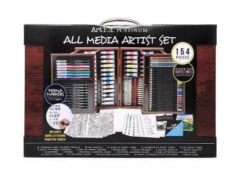 Kit Para Dibujar Art 101 Caja De Madera Con 154 Piezas