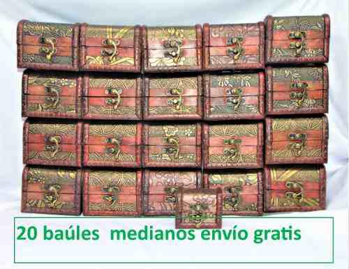 Lote 20 Cajas Baúl Madera Alhajero Cofre Envío Gratis