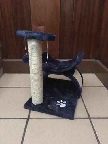 Centro De Entretenimiento P/gatos Azul Con Poste Y Juguetes