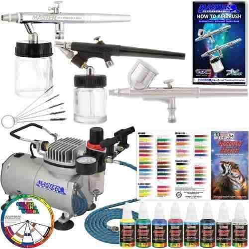 Kit Completo 3 Aerografos Compresor 6 Pinturas Y Mas!
