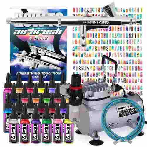 Kit Completo De Aerógrafo Uñas 24 Colores Msi