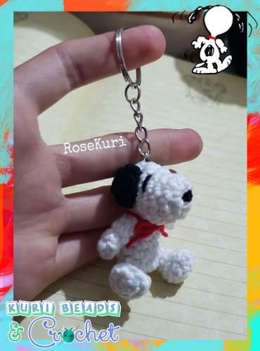 Llavero Snoopy Amigurumi Tejido A Crochet