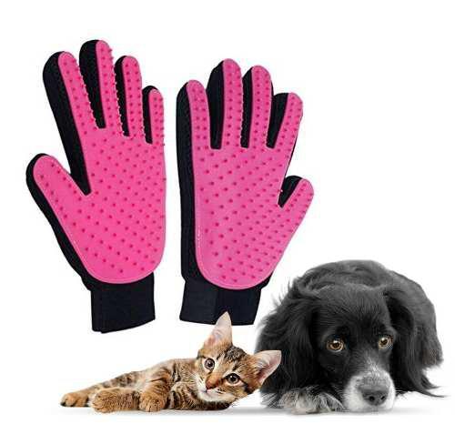 Paquete 2 Guantes Rosa Cepillo Removedor De Pelo Perro Gato