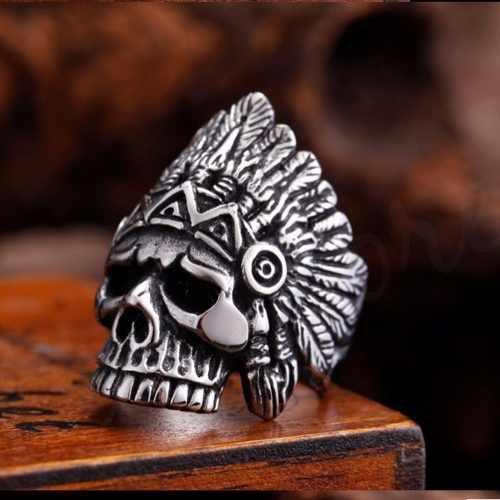 Anillo Calavera American Indian Acero Inox 316 Hot Sale
