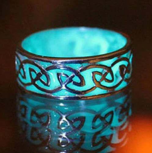 Anillo Celta Luminoso Azul Brilla En La Oscuridad Cajitarega