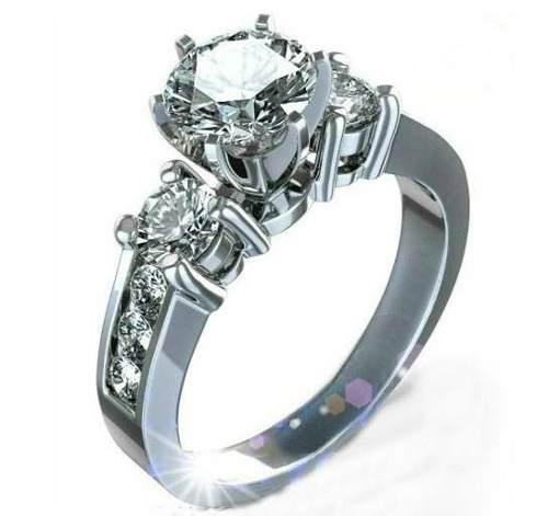 Anillo Compromiso Oro 18k Diamante.94ct Totales Gh Vs