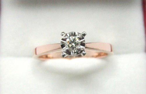 Anillo Compromiso Oro Rosa 14k Diamante 10 Puntos G Vs1