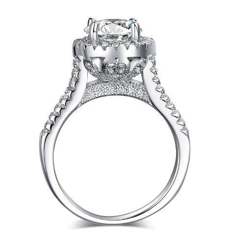 Anillo De Compromiso Plata + Baño Oro Blanco Diamante