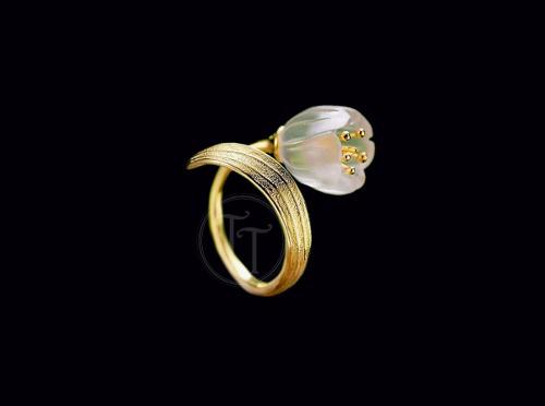 Anillo Flor Cuarzo Natural Plata Esterlina 925 Feuille