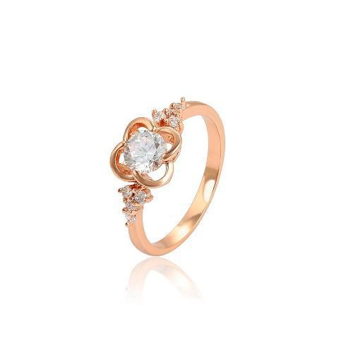 Anillo Flor Oro 14k Lam Zirconias Corte Diamante #11