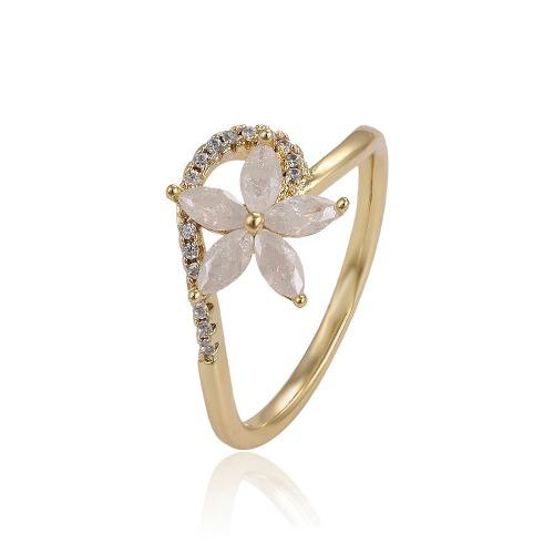 Anillo Oro 14k Lam Flor Ópalo Con Zirconias Corte Diamante