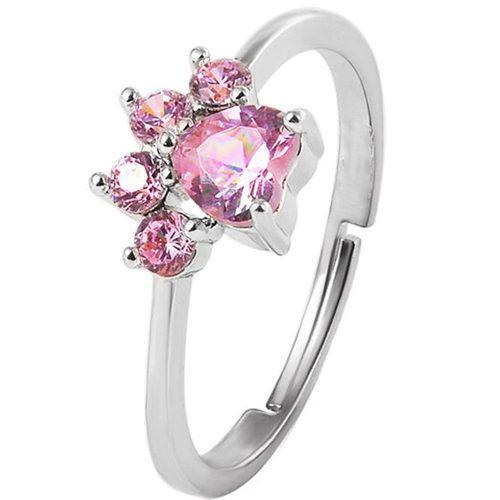 Anillo Patita Perro Cristales Rosa Ajustable Plata 925 A-041