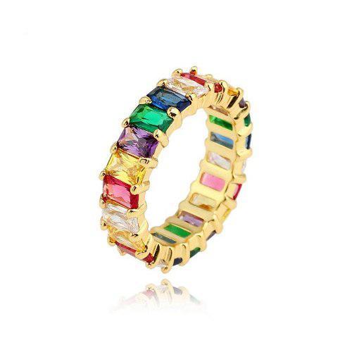 Anillo Rainbow Grueso En Chapa De Oro Con Circonia, Arcoiris