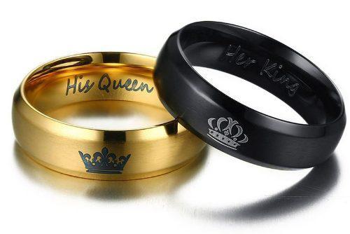 Anillo Rey Y Reina - Regalo Para Parejas, Novios, Compromiso