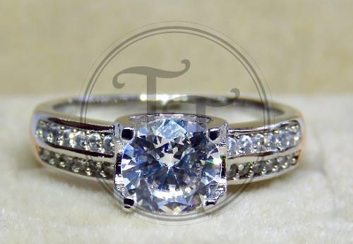Anillo Solitario Silver 925 Zirconia Corte Diamante # 4-6.5