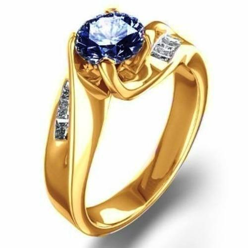Anillos De Compromiso Oro 18kt Zafiro Corindon Azul