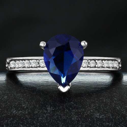 Anillos Gota Azul Sa Boda Promesa Compromiso Zirconias Chapa
