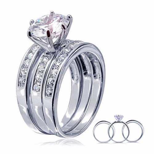 Anillos Juego 3 Boda Promesa Compromiso Plata 925 Diamante
