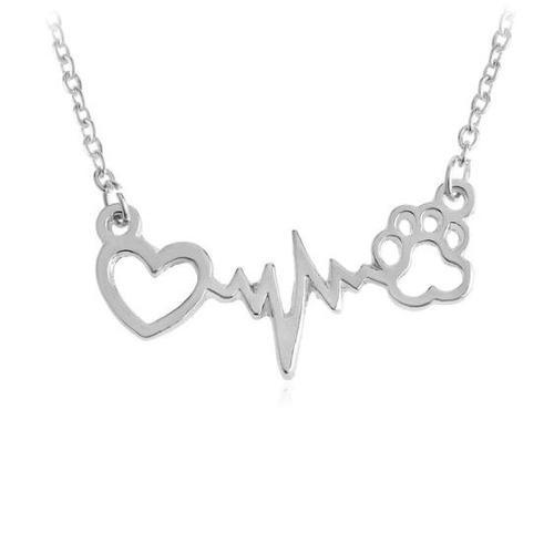 Collar Huellita De Perro Corazón Electrocardiograma Latidos