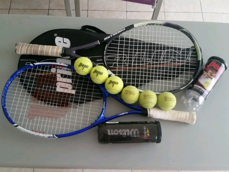 Combo de Raquetas De Tenis Prince Y Wilson, Bolsa y Pelotas