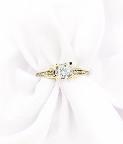 Hermoso Anillo De Compromiso Oro 10k Diamante Ruso, Zirconia
