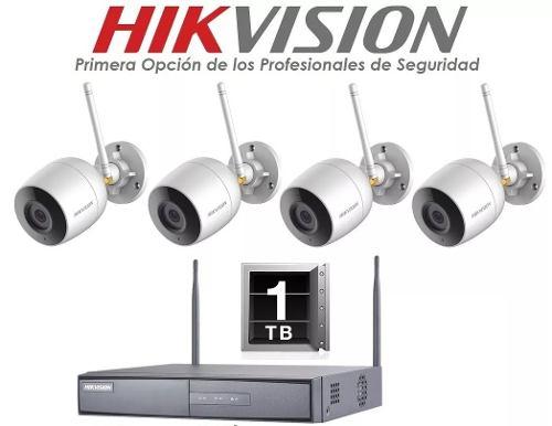 Kit Circuito Cerrado 4 Camaras Inalambrico 2mp Hikvision 1tb