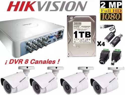 Kit Circuito Cerrado 4 Cámaras p Hikvision 1 Tb Dvr 8