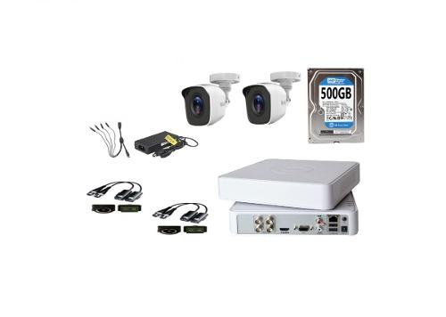 Kit Video Vigilancia 2 Cámaras Hilook Baluns 720p 500gb