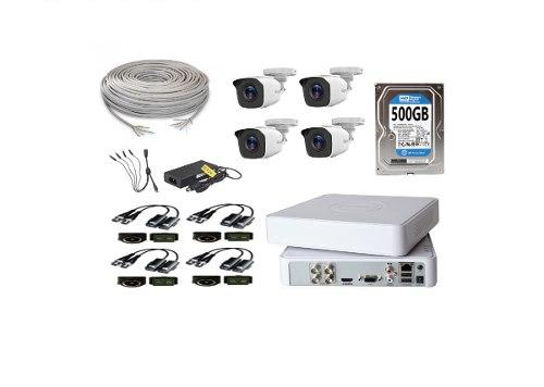 Kit Video Vigilancia 4 Cámaras Hilook Hd 720p Utp 500gb