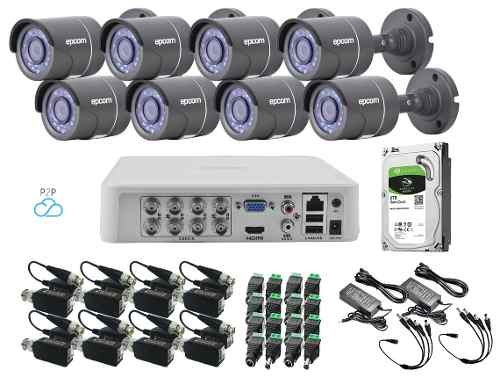 Kit Video Vigilancia 8 Cámaras 720p / 1mp Baluns Epcom 1tb