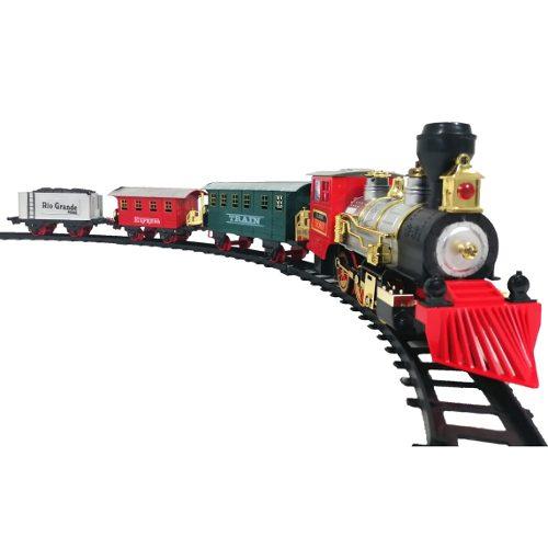 Tren Eléctrico Humo Real Luz Y Sonido Juguete 3 Vagones