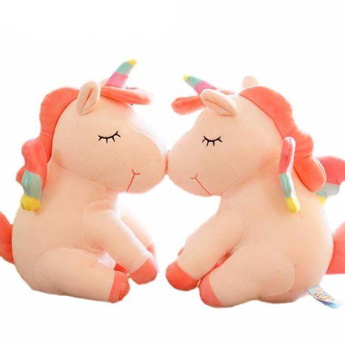 Unicornio Pony De Peluche Durazno Arcoiris Tipo Kawaii