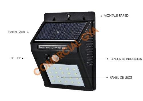 Lampara Energía Solar 20 Leds Sensor Interior Exterior /