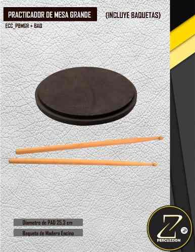 1 Pack De 6 Pads Practicadores De Batería 25.3 Cm+ Baquetas