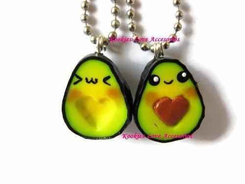 Aguacates 2 Collares Corazon Kawaii Pareja Caja Regalo Amor
