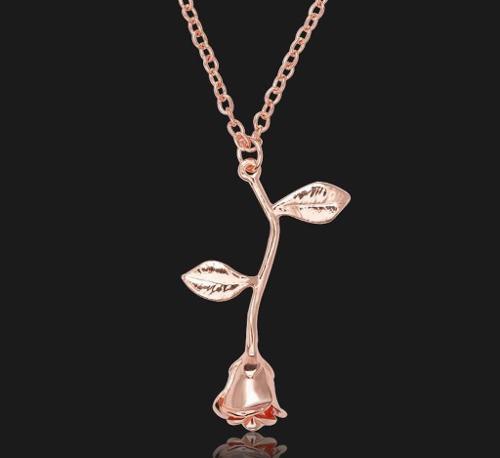 Cadena Dije Collar Forma De Flor Rosa Regalo Mama 10 Mayo