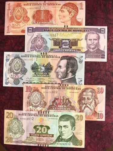 Colección De 5 Billetes De Honduras